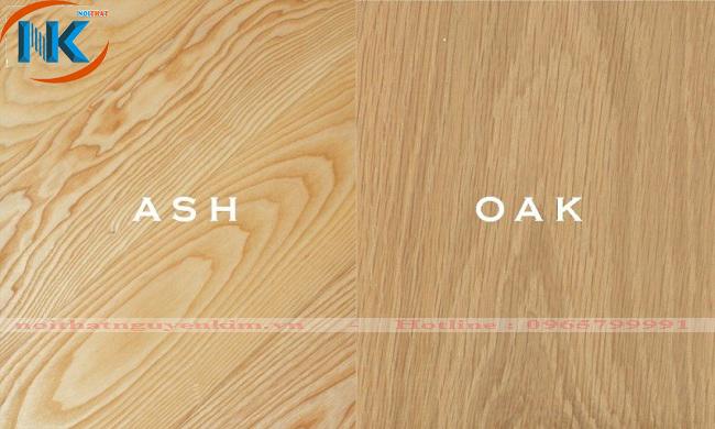 Bên phải chính là vân gỗ sồi nga còn bên trái là vân gỗ sồi mỹ