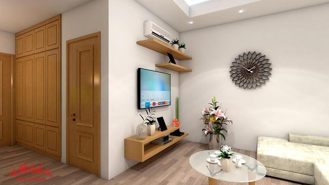 Phòng khách nhìn từ các góc cạnh khác nhau trong căn nhà