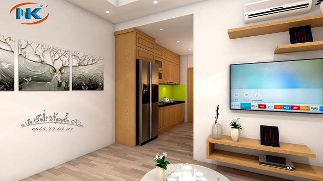 Mẫu thiết kế nhìn từ không gian bếp tới phòng khách