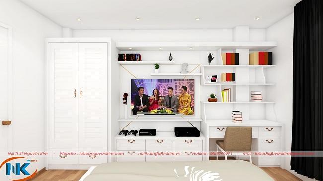 Phòng ngủ đẹp tinh tế với đầy đủ tủ áo, kệ tivi, giá sách
