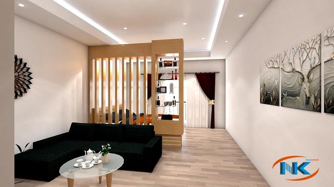 Mẫu thiết kế phòng khách hiện đại với điểm nhấn là vách ngăn trang trí
