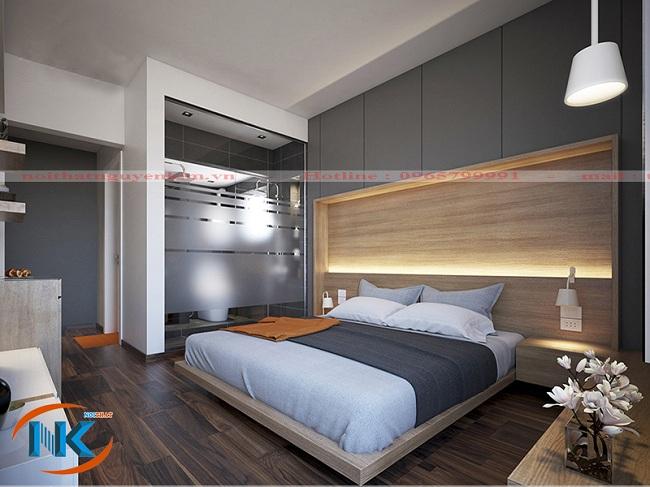 Phòng ngủ kết hợp với phòng tắm bên cạn vô cùng tiện mà vẫn toát lên không gian rộng rãi cho phòng ngủ