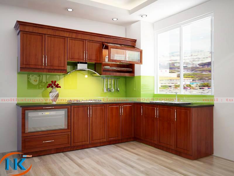 Tủ bếp chữ L tuy đơn giản mà đáp ứng đầy đủ công năng của phòng bếp