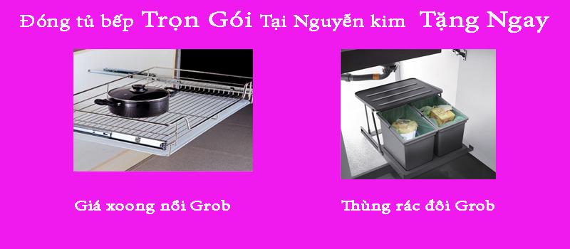 Tặng ngay giá xoong nồi và thùng rác khi đóng trọn gói bộ tủ bếp tại Nguyễn Kim