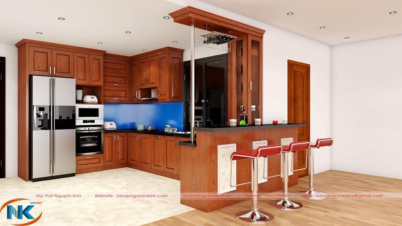 Tủ bếp gỗ xoan đào TBXD13 thiết kế dáng chữ U có quầy bar mini