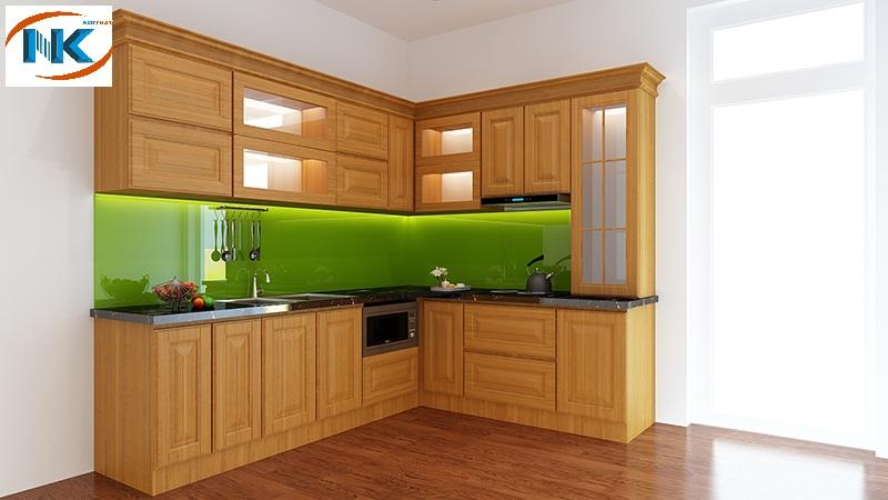 Mẫu tủ bếp chữ L xinh xắn, phù hợp mọi không gian nhà bếp hiện đại