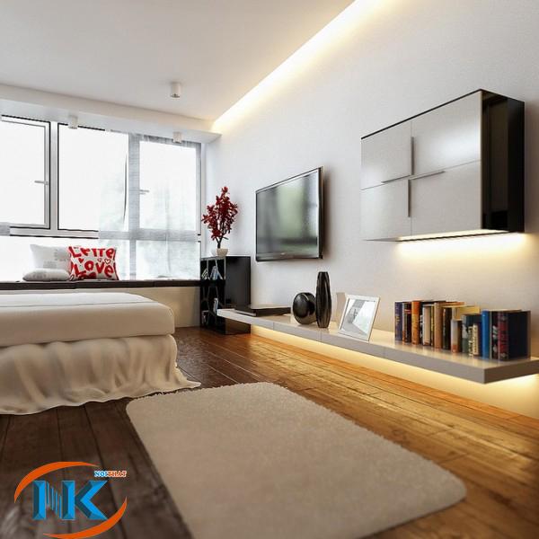 Phòng ngủ nổi bật với kệ trang trí ti vi