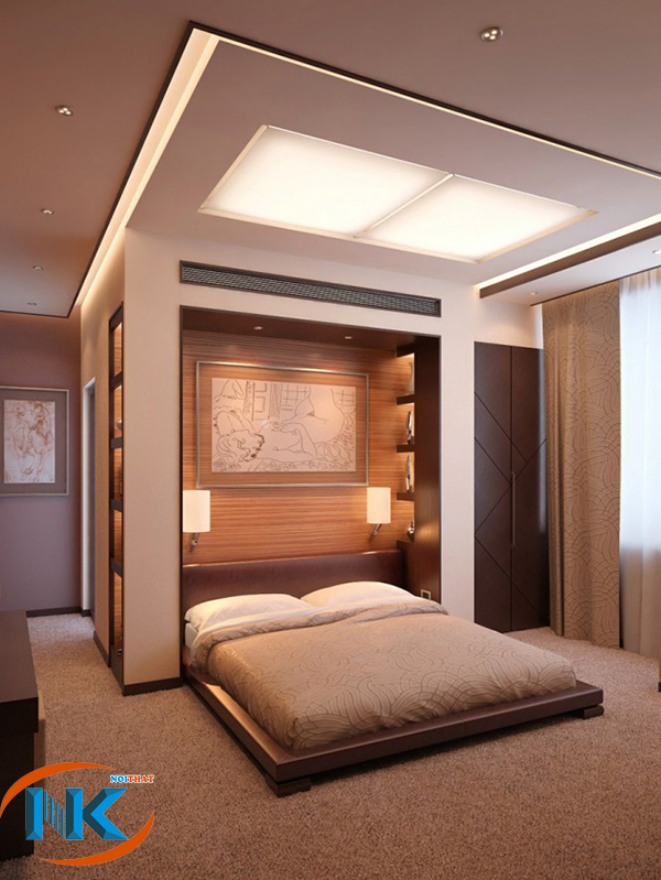 Phòng ngủ với gam màu nhẹ nhàng, trầm ấm