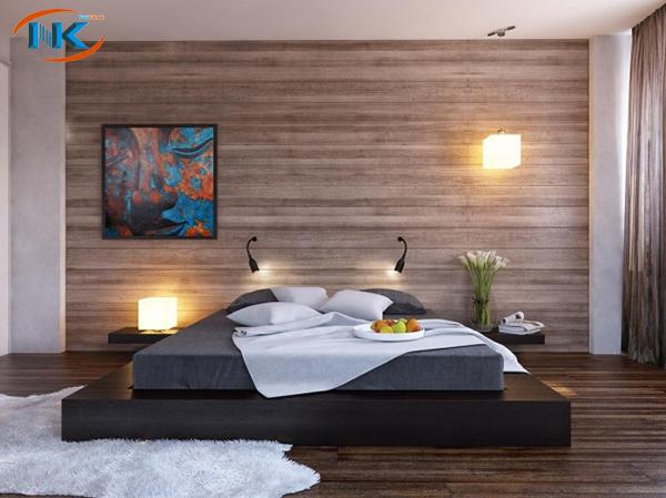 Phòng ngủ hiện đại cho gia đình trẻ với gam màu trầm