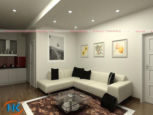 Phòng khách chung cư mini với tông màu trắng tạo cảm giác rộng mở