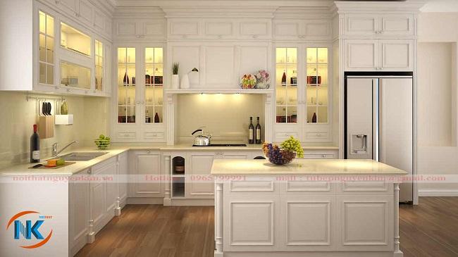 Tủ bếp gỗ xoan đào sơn trắng dáng chữ L kết hợp bàn đảo cho căn bếp hiện đại, tiện nghi