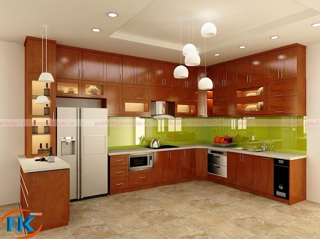 Mẫu tủ bếp gỗ xoan đào kịch trần hiện đại, gia tăng diện tích chứa đồ cho nhà bếp