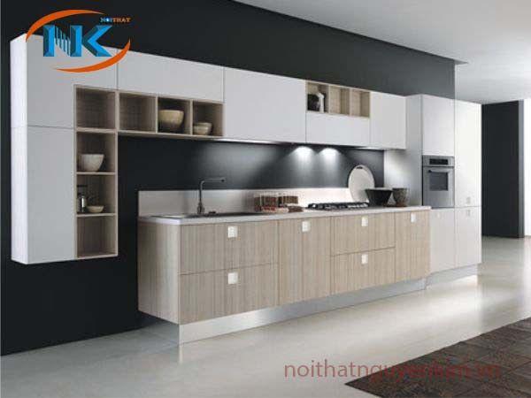 Mẫu tủ bếp laminate chữ I cho phòng bếp hiện đại dựa trên sự kết hợp màu sắc hài hòa