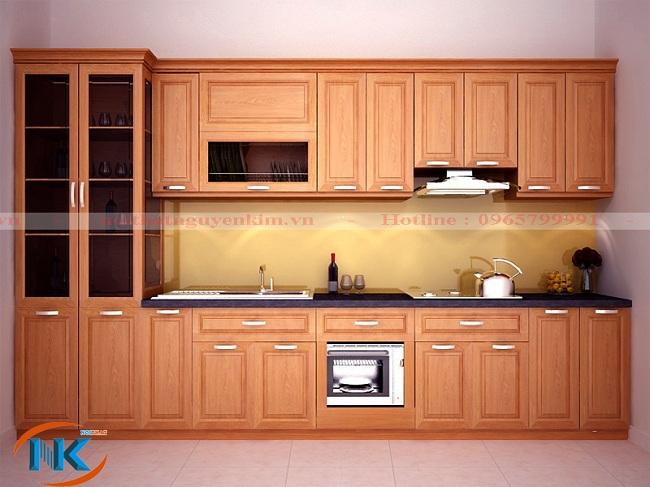 Thiết kế tủ bếp chữ I nhỏ gọn mà vẫn đáp ứng đầy đủ công năng chính của nhà bếp hiện đại