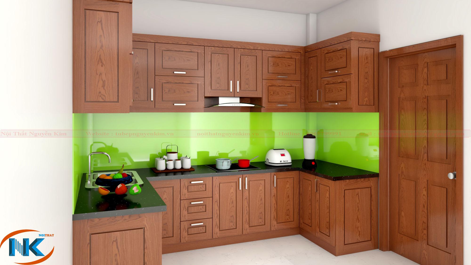 Thiết kế tủ bếp gỗ xoan đào TBXD06 kiểu dáng chữ L hiện đại