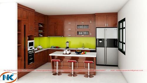 Một thiết kế tủ bếp có bàn đảo khá tiện nghi, sang chảnh của Nội thất Nguyễn Kim