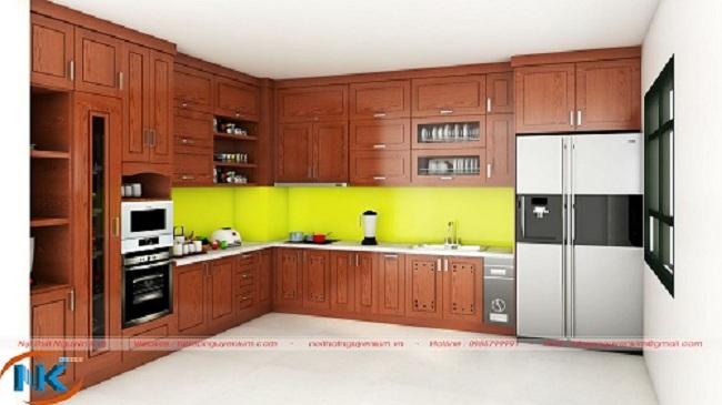 Thiết kế tủ bếp gỗ xoan đào TBXD10 dáng chữ L
