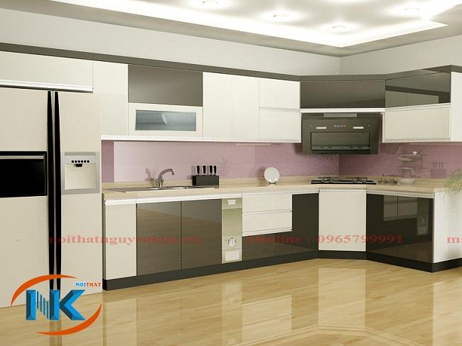 Tủ bếp acrylic này với sự kết hợp màu trắng xen lẫn màu nâu rất hài hòa, dịu mắt mà vẫn vô cùng hiện đại, cao cấp