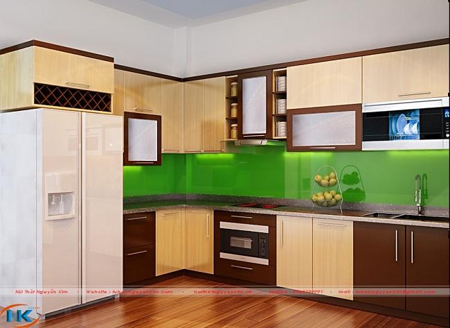 Mẫu tủ bếp acrylic này là sự kết hợp tông màu nâu với màu vân gỗ bắt mắt. Lựa chọn mẫu tủ bếp này căn bếp luôn luôn sạch sẽ ngay khi bụi bẩn rất khó phát hiện