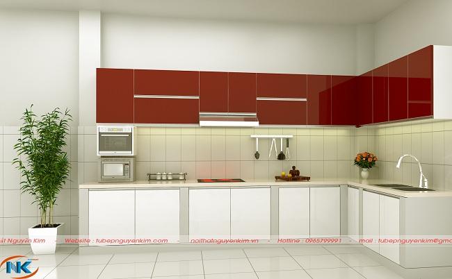 Riêng với thiết kế phá cách này thì phần tủ trên là màu đỏ đô và phần tủ dưới là màu trắng. Chỉ ai yêu thích sự nổi bật trong phong cách hiện đại sẽ yêu thích
