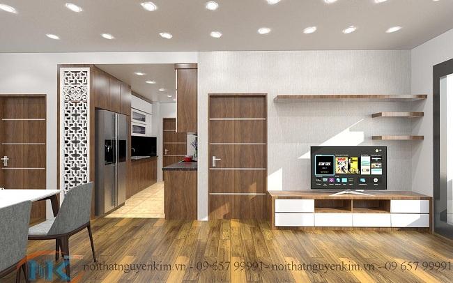 Lựa chọn màu sắc là cách tối ưu đẹp cho thiết kế phòng khách này.