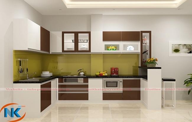 Mẫu tủ bếp gỗ acrylic chữ L kết hợp màu trắng xen kẽ đỏ đô