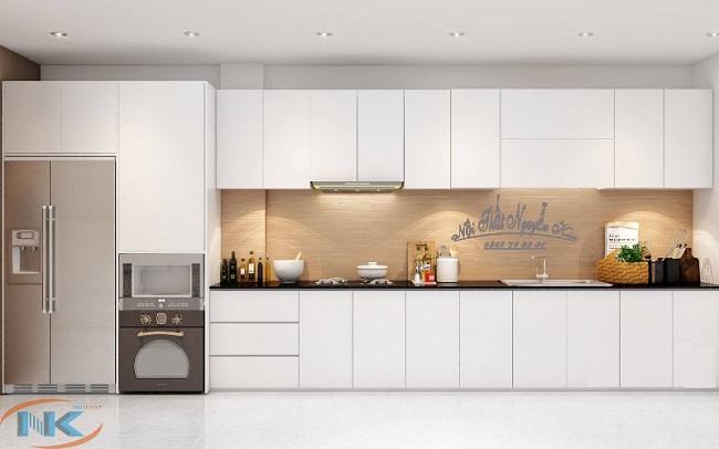 Tủ bếp acrylic chữ I màu trắng tinh tế, nhẹ nhàng cho căn bếp hiện đại mỗi gia đình