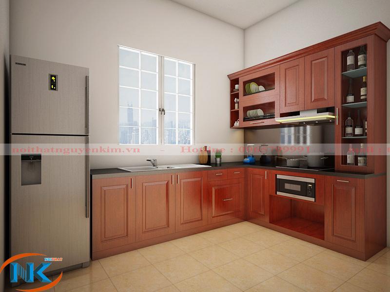 Tủ bếp gỗ xoan đào dáng chữ L nổi bật với tông màu cánh gián đậm