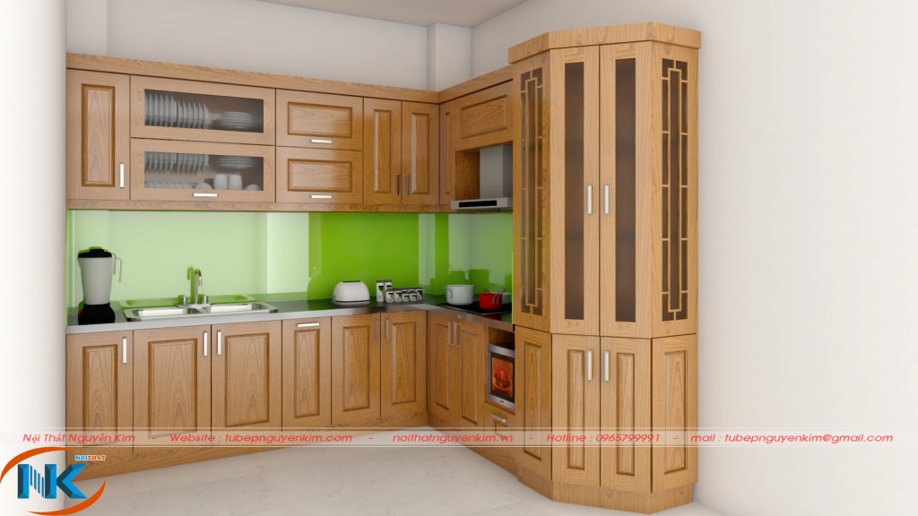 Mẫu tủ bếp gỗ sồi nga chữ L kết hợp tủ rượu cho phòng bếp diện tích vừa xinh xắn