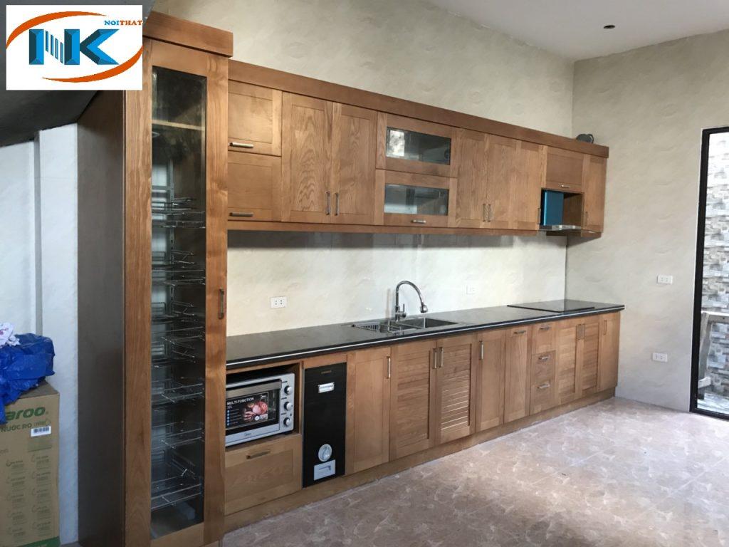 Thiết kế tủ bếp gỗ sồi nga thi công nhà chị Hoa Thanh Trì, Hà Nội
