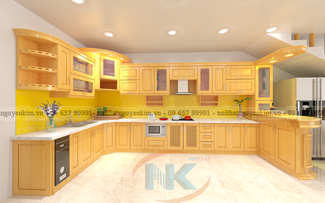 Bản vẽ 3D tủ bếp gỗ sồi nga nhà anh Phương