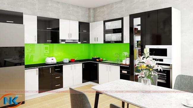 Hình ảnh 3D tủ bếp acrylic nhà cô Hà Khương Trung, Thanh Xuân, Hà Nội