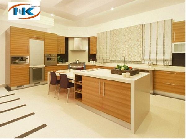 Tủ bếp chất liệu laminate An Cường vân gỗ sang trọng, hiện đại