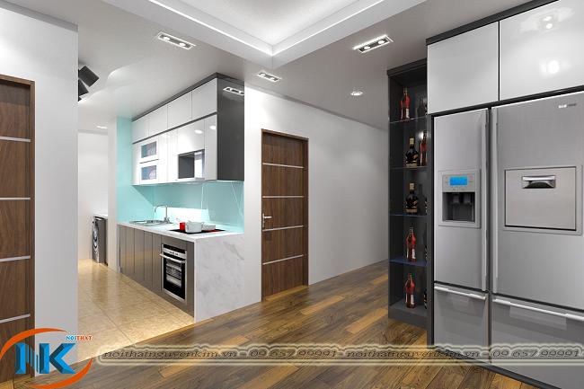 Một mẫu thiết kế tủ bếp gỗ acrylic chữ I của Nguyễn Kim cho căn hộ chung cư