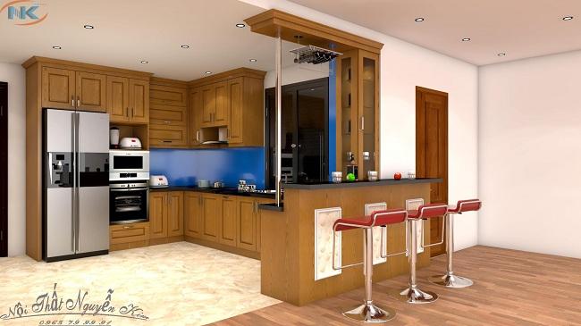 Tủ bếp gỗ sồi nga chữ L có quầy bar kết hợp tủ rượu thông minh, rất hiện đại