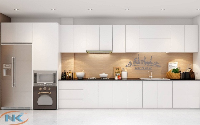 Tủ bếp acrylic an cường chữ I màu trắng tinh tế luôn là lựa chọn của rất đông khách hàng