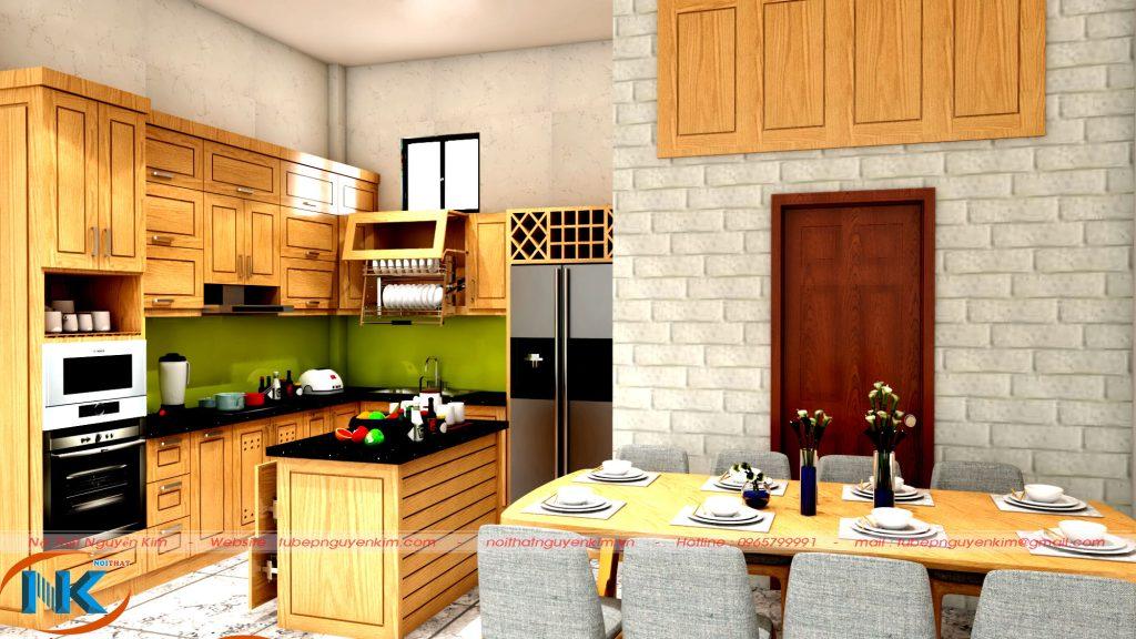 Mẫu tủ bếp gỗ sồi mỹ có bàn đảo thông minh mang tới không gian bếp hiện đại, cao cấp