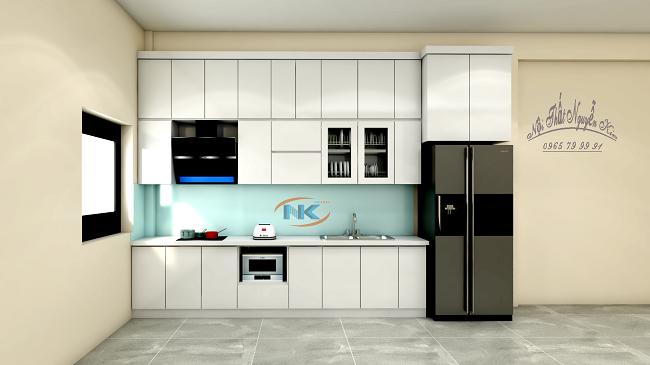 Một mẫu tủ bếp acrylic chữ I sử dụng màu trắng sáng đẹp tinh tế, rất nhẹ nhàng mà tối ưu mọi công năng nhà bếp