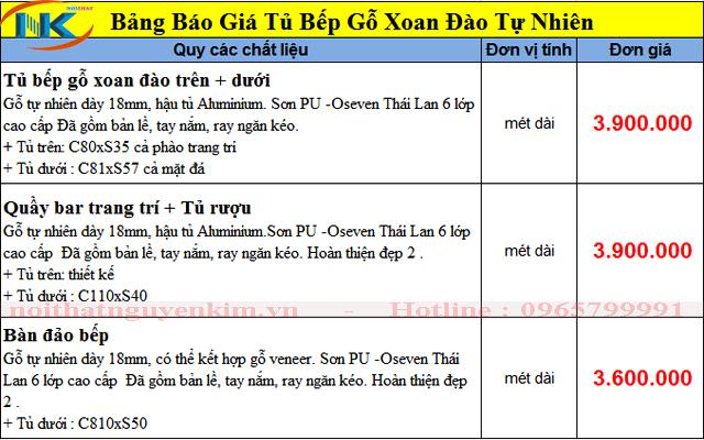 Bảng báo giá tủ bếp gỗ xoan đào Nguyễn Kim 2019