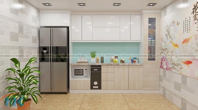 Mẫu tủ bếp gỗ acrylic chữ I đơn giản rất gọn gàng được thiết kế kịch trần là mẫu bán chạy nhất 2018
