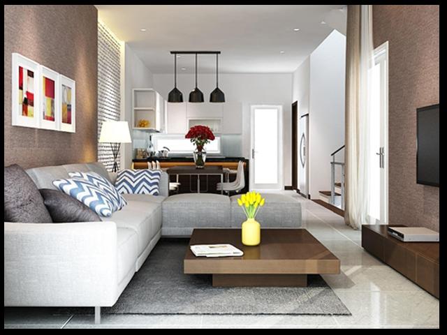 Hay mẫu phòng khách cho nhà ống này đẹp hoàn hảo bởi cách bố trí màu sắc hợp lý