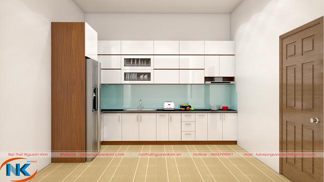 Mẫu tủ bếp gỗ acrylic chữ L ACR22 màu trắng bóng gương cao cấp, hiện đại