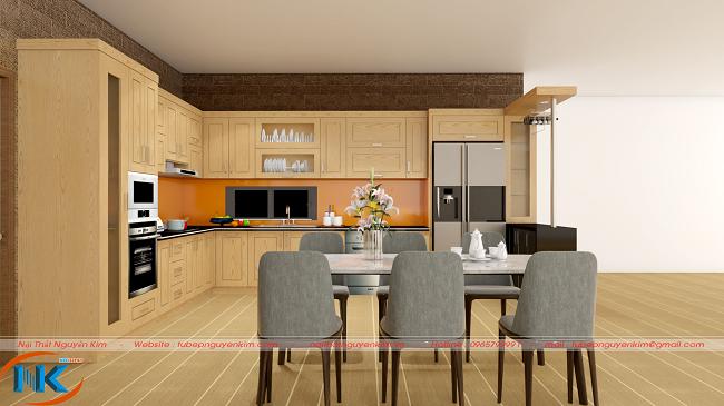 Căn bếp như rộng mở, rộng hơn với thiết kế tủ bếp chữ L