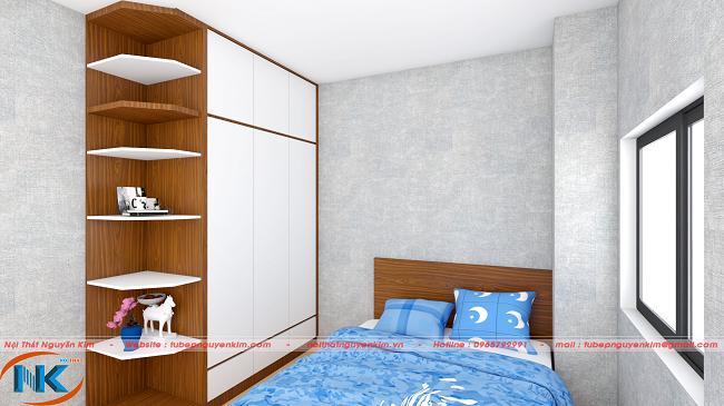 Thiết kế nội thất phòng ngủ căn hộ chung cư 60m2 tối ưu tính năng sử dụng, tạo không gian thoáng mát hơn.