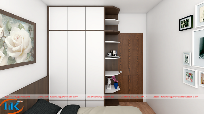 Tủ áo cho phòng ngủ bố mẹ màu trắng kết hợp với kệ trang trí đẹp mắt, tiện nghi
