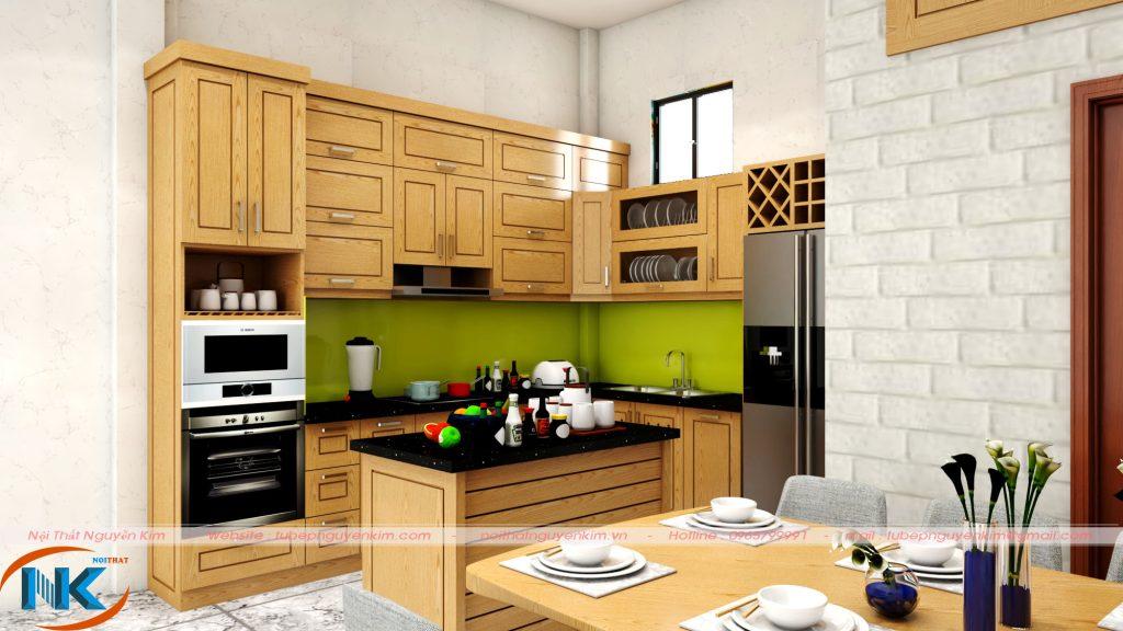 Mẫu tủ bếp gỗ sồi mỹ chữ L có bàn đảo soạn đồ thông minh, tiện nghi cho căn bếp hiện đại