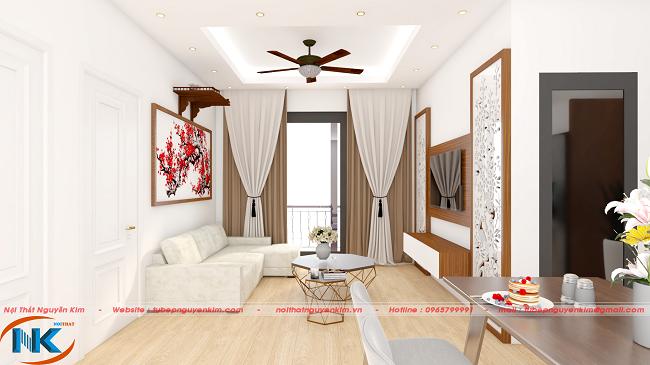 Phòng khách căn hộ chung cư 60m2 của chị Ngọc Long Biên