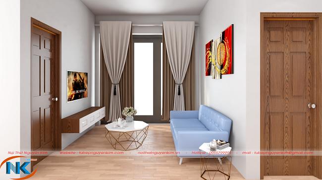 Phòng khách sử dụng màu trắng làm trung tâm. Kết hợp màu vân gỗ nổi bật của hệ thống cửa, sàn gỗ cho không gian ấm cúng, rộng hơn với bàn trà nhỏ xinh