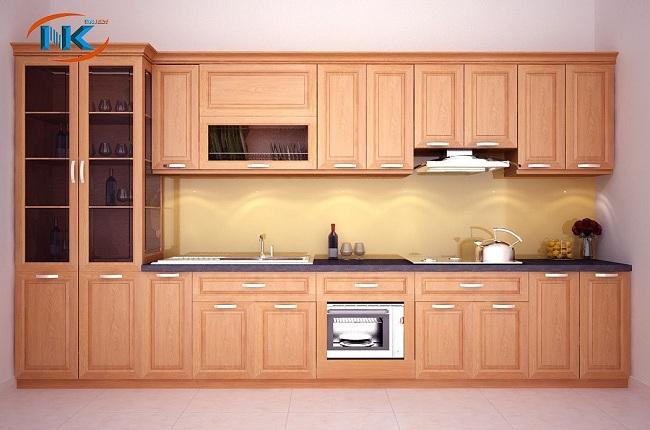 Thiết kế tủ bếp chữ I có thêm tủ rượu rất gọn gàng, xinh xắn
