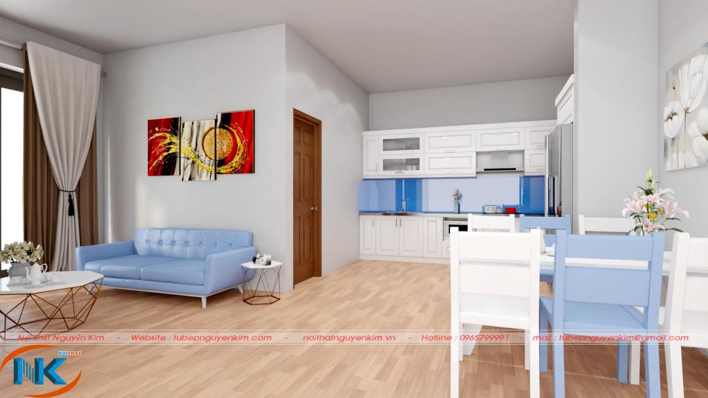 Tủ bếp gỗ sồi nga chữ L khi nhìn từ phòng khách vào rất hài hòa về màu sắc chung của căn nhà
